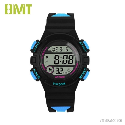 VT-D1935 Waterproof Contrast Color Band LCD Sport Watch