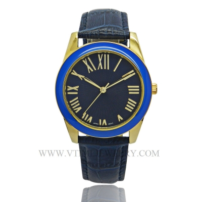 VT-AS3039L Fashion Genuine Leather Band Lady Watch With Blue Top-rim